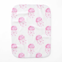 watercolor pink jellyfish beach design burp cloth