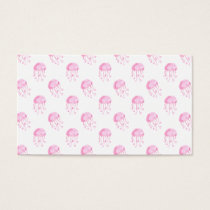 watercolor pink jellyfish beach design business card