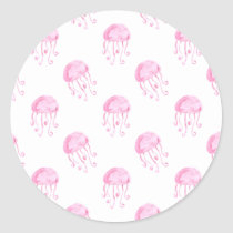 watercolor pink jellyfish beach design classic round sticker