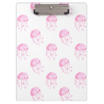 watercolor pink jellyfish beach design clipboard
