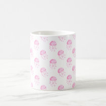 watercolor pink jellyfish beach design coffee mug