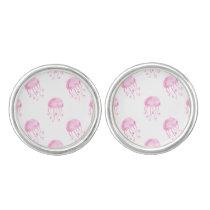 watercolor pink jellyfish beach design cufflinks