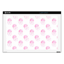 "watercolor pink jellyfish beach design decals for 17"" laptops"