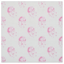 watercolor pink jellyfish beach design fabric