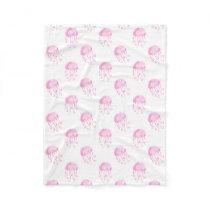 watercolor pink jellyfish beach design fleece blanket