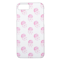watercolor pink jellyfish beach design iPhone 8/7 case
