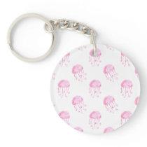 watercolor pink jellyfish beach design keychain