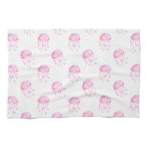 watercolor pink jellyfish beach design kitchen towel