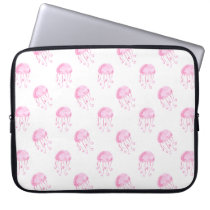 watercolor pink jellyfish beach design laptop sleeve