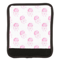 watercolor pink jellyfish beach design luggage handle wrap