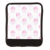 watercolor pink jellyfish beach design luggage handle wrap