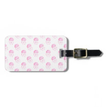 watercolor pink jellyfish beach design luggage tag