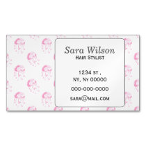 watercolor pink jellyfish beach design magnetic business card