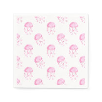 watercolor pink jellyfish beach design napkin