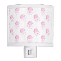 watercolor pink jellyfish beach design night light