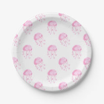 watercolor pink jellyfish beach design paper plate