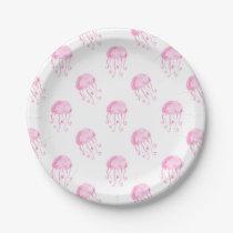 watercolor pink jellyfish beach design paper plate