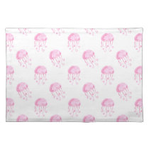 watercolor pink jellyfish beach design placemat