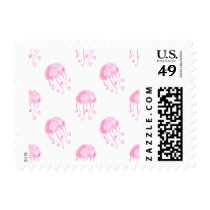 watercolor pink jellyfish beach design postage