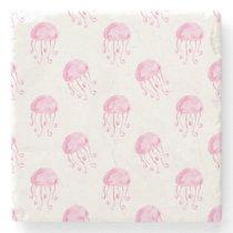watercolor pink jellyfish beach design stone coaster