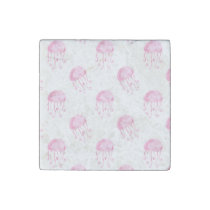 watercolor pink jellyfish beach design stone magnet