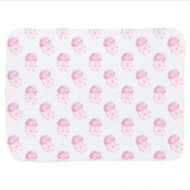 watercolor pink jellyfish beach design swaddle blanket