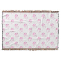 watercolor pink jellyfish beach design throw