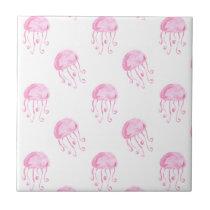 watercolor pink jellyfish beach design tile