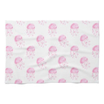 watercolor pink jellyfish beach design towel