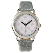 watercolor pink jellyfish beach design wrist watch