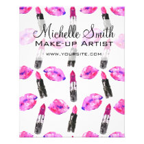 Watercolor pink lips lipstick  pattern makeup flyer