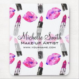 Watercolor pink lips lipstick  pattern makeup mouse pad