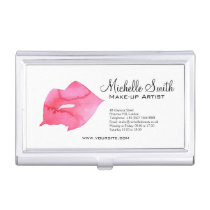 Watercolor pink lips makeup branding case for business cards