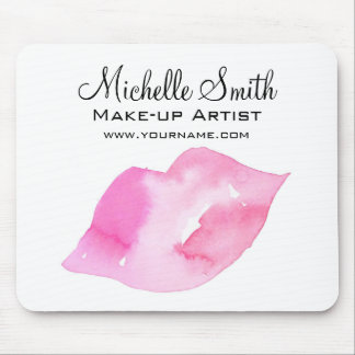 Watercolor pink lips makeup branding mouse pad