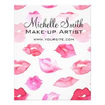 Watercolor pink lips pattern makeup branding flyer