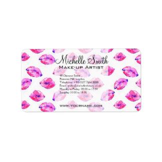 Watercolor pink lips pattern makeup branding label