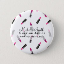 Watercolor pink lipstick pattern makeup branding button