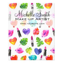 Watercolor pink lipstick pattern makeup branding flyer