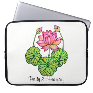 Watercolor Pink Lotus with Buds & Leaves Computer Sleeve