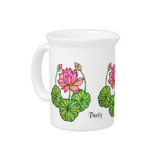 Watercolor Pink Lotus with Buds & Leaves Drink Pitcher