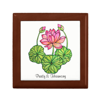 Watercolor Pink Lotus with Buds & Leaves Jewelry Box