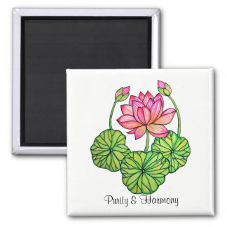 Watercolor Pink Lotus with Buds & Leaves Magnet