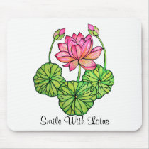 Watercolor Pink Lotus with Buds & Leaves Mouse Pad