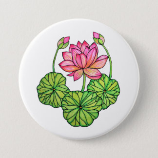 Watercolor Pink Lotus with Buds & Leaves Pinback Button