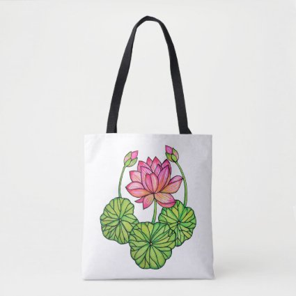 Watercolor Pink Lotus with Buds & Leaves Tote Bag