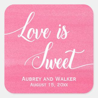 Watercolor Pink Love is Sweet Wedding Stickers
