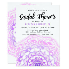 Watercolor Pink Mandala Bohemian Bridal Shower Card