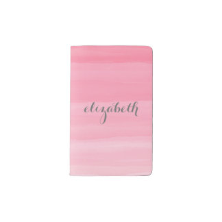Watercolor Pink Ombre Feminine Monogram Name Pocket Moleskine Notebook