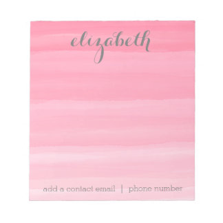 Watercolor Pink Ombre Feminine Office Suite Note Pads