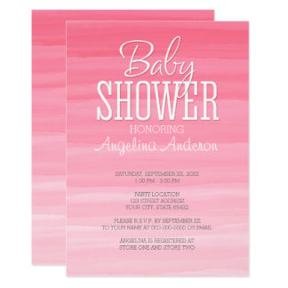 Watercolor Pink Ombre Sweet Girl Baby Shower Card